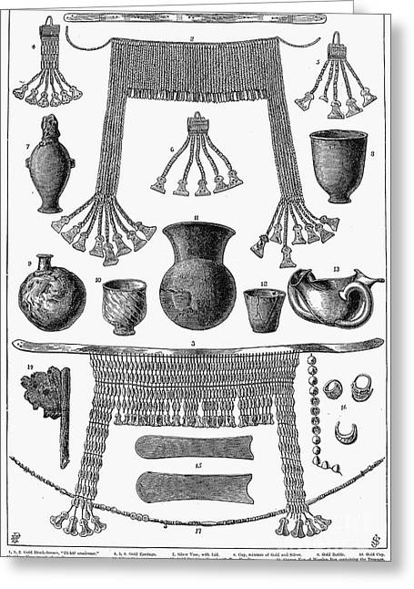 Ancient Earrings Greeting Cards - HEINRICH SCHLIEMANN (1822-1890). German traveller and archeologist. Some of the antiquities excavated by Schliemann at Hissarlick, Turkey, site of ancient Troy. Wood engraving, English, 1877 Greeting Card by Granger
