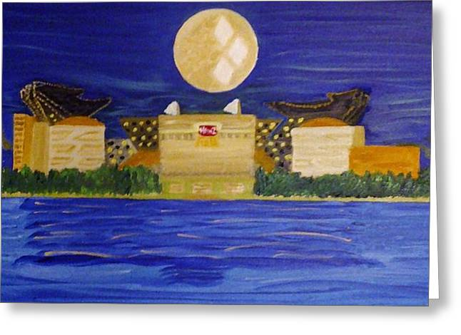 Heinz Paintings Greeting Cards - Heinz Field casting Three Rivers Shadow Greeting Card by Michele Moore