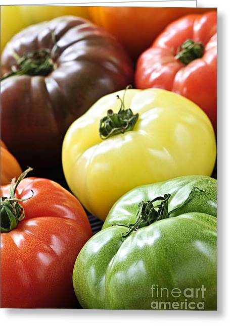 Produce Greeting Cards - Heirloom tomatoes Greeting Card by Elena Elisseeva