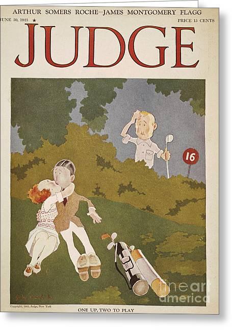 John Jr. Greeting Cards - Held: Golf Cover, 1923 Greeting Card by Granger