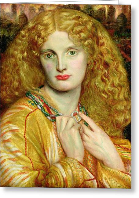 Trojan Greeting Cards - Helen of Troy Greeting Card by Dante Charles Gabriel Rossetti