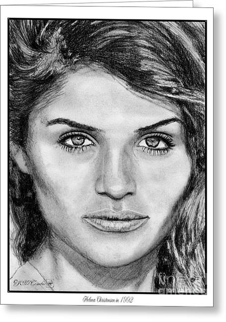Catwalk Drawings Greeting Cards - Helena Christensen in 1992 Greeting Card by J McCombie