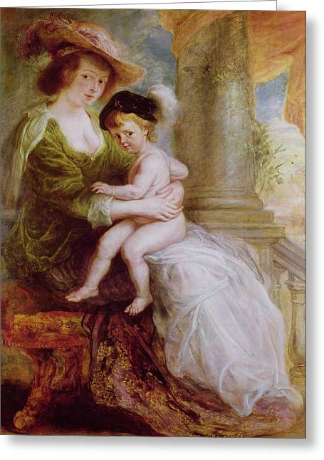 Best Sellers -  - Peter Paul (1577-1640) Greeting Cards - Helene Fourment and her son Frans Greeting Card by Rubens