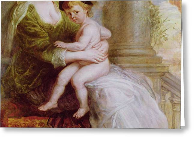 Helene Fourment and her son Frans Greeting Card by Rubens