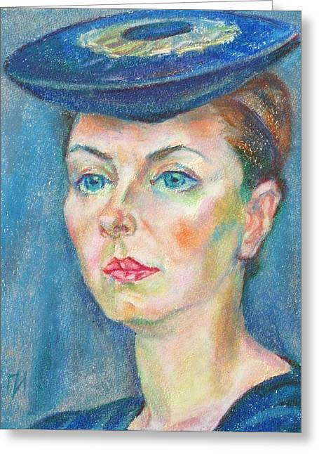 Oil Pastel Greeting Cards - Helene Tedre Greeting Card by Leonid Petrushin