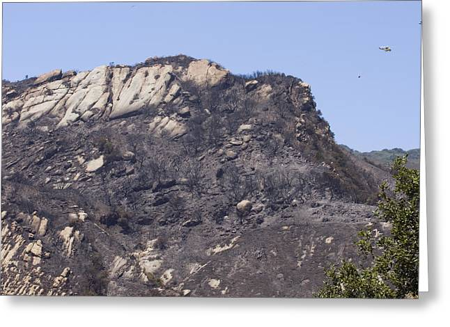 Hondo Greeting Cards - Helicopter Dousing The Gaviota Fire Greeting Card by Rich Reid