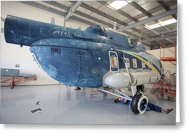 Disassembled Greeting Cards - Helicopter In Servicing Hangar Greeting Card by Ria Novosti