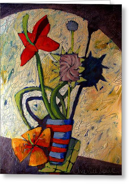 Pull Greeting Cards - HELIO FLORA in the STUDIO  Greeting Card by Charlie Spear