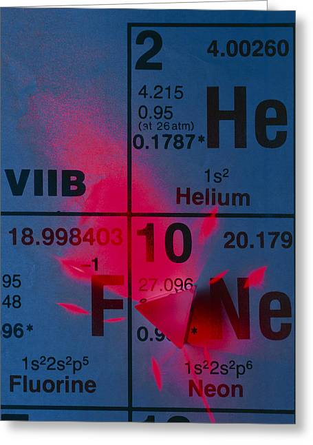 Helium Greeting Cards - Helium-neon Elements As Laser On Periodic Table Greeting Card by David Nunuk