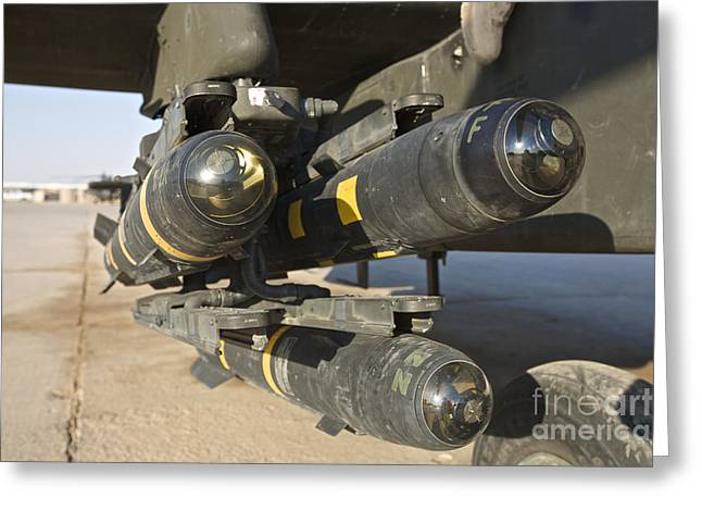 Ah-64 Greeting Cards - Hellfire Missiles On An Ah-64d Apache Greeting Card by Terry Moore