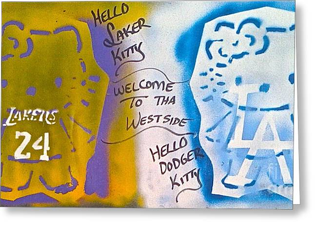 Lakers Paintings Greeting Cards - Hello LA Kitty Greeting Card by Tony B Conscious