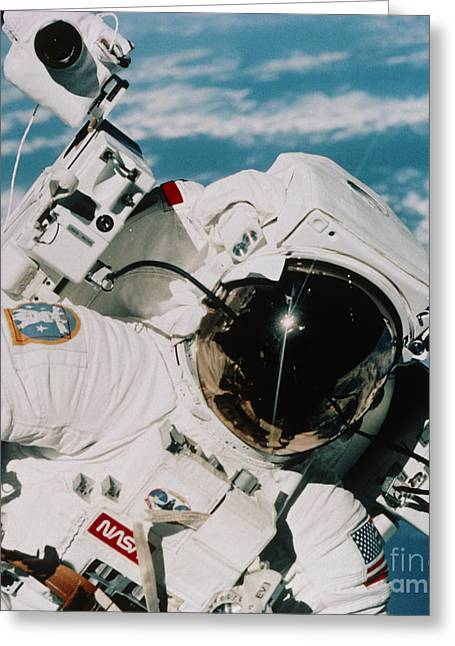 Helmet Of Astronaut Mccandless Greeting Card by NASA / Science Source