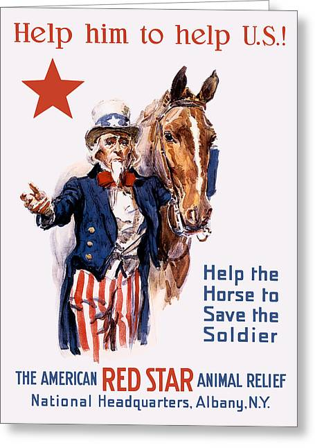 Relief Mixed Media Greeting Cards - Help The Horse To Save The Soldier Greeting Card by War Is Hell Store