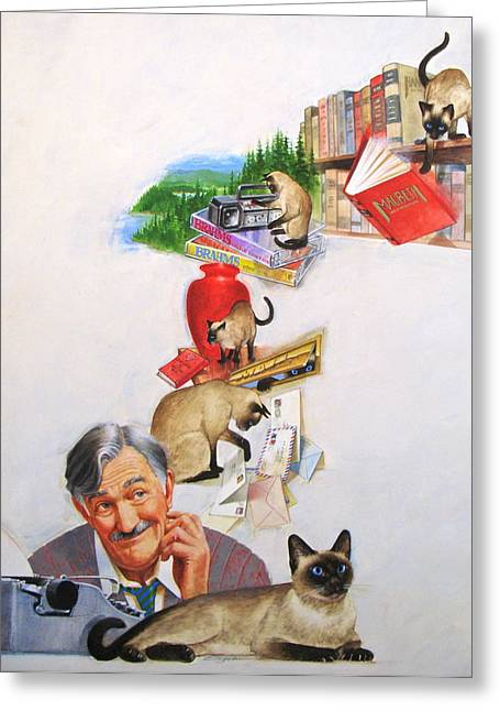 Typewriter Mixed Media Greeting Cards - Helping Kitty Greeting Card by Cliff Spohn