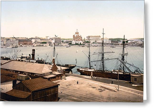 Helsinki Finland Greeting Cards - Helsinki Finland - Russian Cathedral and Harbor Greeting Card by International Images