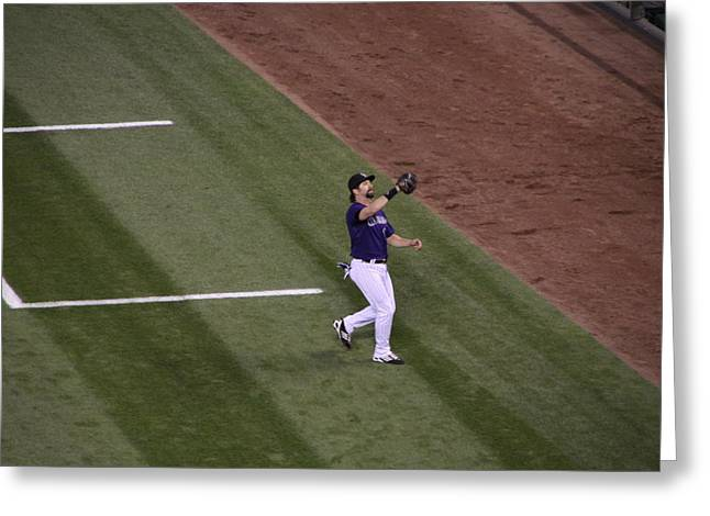 Todd Helton Greeting Cards - Helton Catches a Fly Ball Greeting Card by Cynthia  Cox Cottam