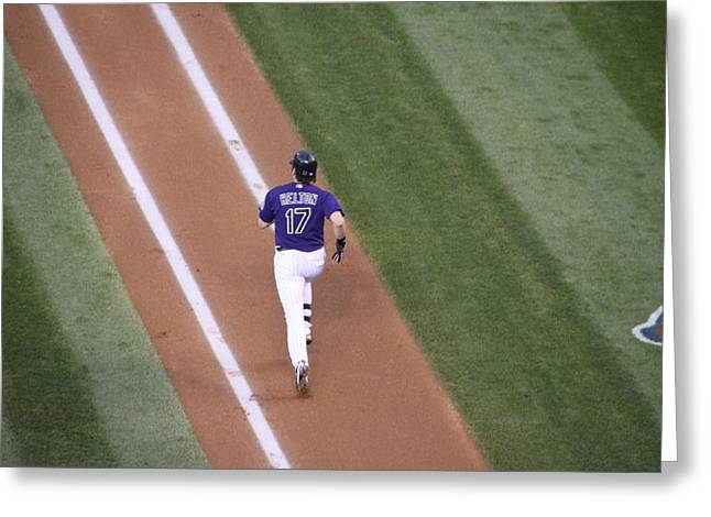 Todd Helton Greeting Cards - Helton Runs to First Greeting Card by Cynthia  Cox Cottam