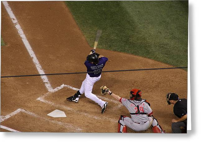Todd Helton Greeting Cards - Helton Takes a Swing Greeting Card by Cynthia  Cox Cottam