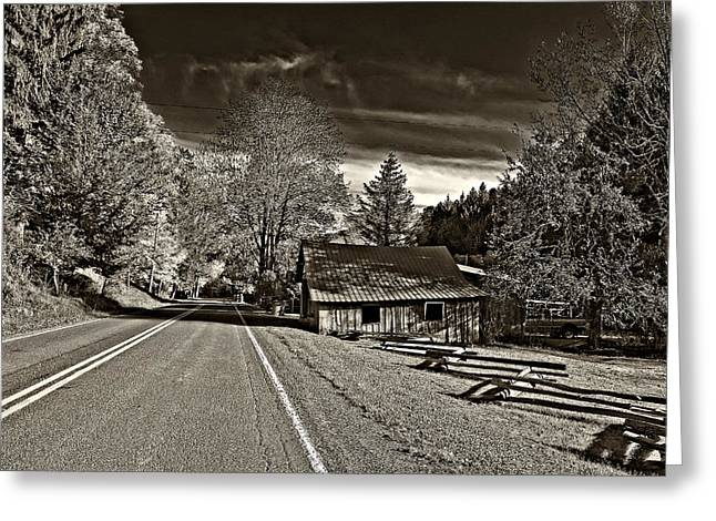Split Rail Fence Greeting Cards - Helvetia WV monochrome Greeting Card by Steve Harrington