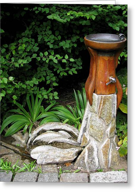 Recently Sold -  - Garden Statuary Greeting Cards - Hen Fountain Greeting Card by Deborah  Crew-Johnson