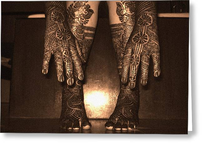 Henna Greeting Cards - Henna Art On An Indian Bride Greeting Card by Sumit Mehndiratta
