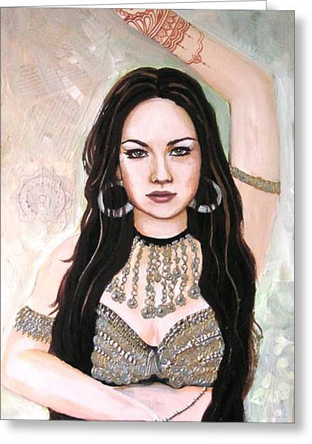 Tribal Belly Dance Greeting Cards - Henna Hands Greeting Card by Stephanie Bolton
