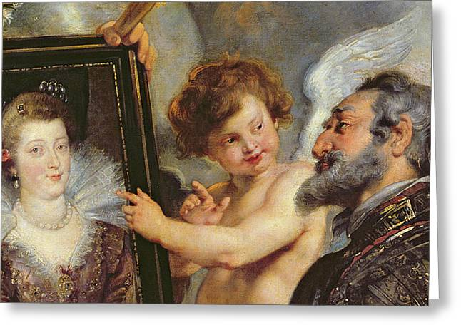 Queen Greeting Cards - Henri IV Receiving the Portrait of Marie de Medici Greeting Card by Rubens