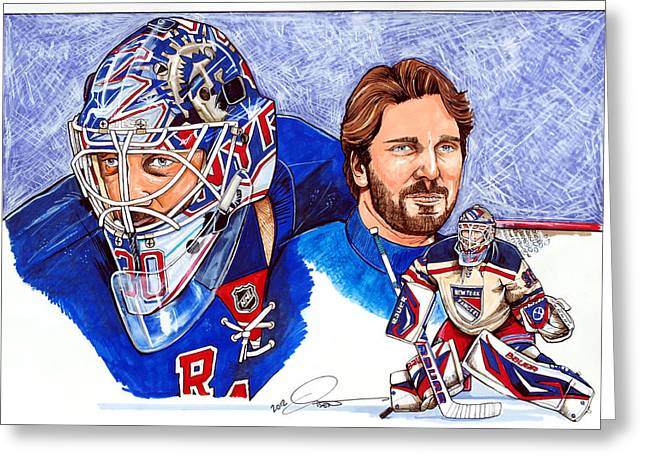 Nhl Hockey Drawings Greeting Cards - Henrik Lundqvist Greeting Card by Dave Olsen
