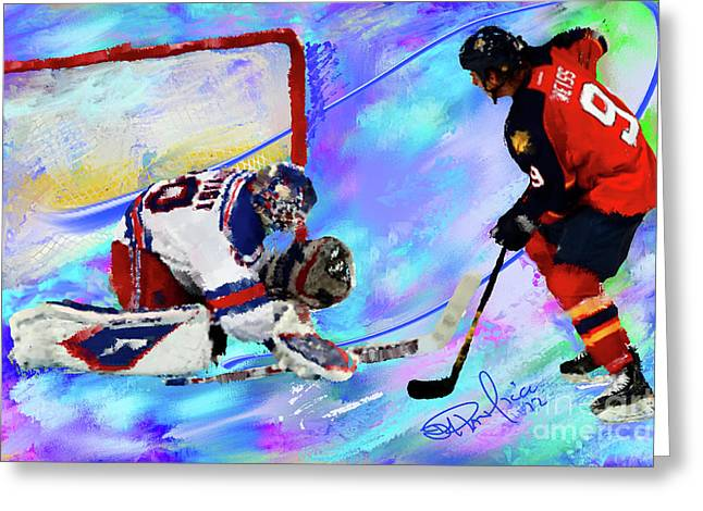 Hockey Paintings Greeting Cards - Henrik Lundqvist Greeting Card by Donald Pavlica