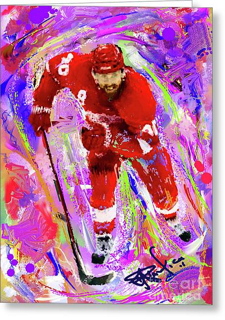 Hockey Paintings Greeting Cards - Henrik Zetterberg Greeting Card by Donald Pavlica