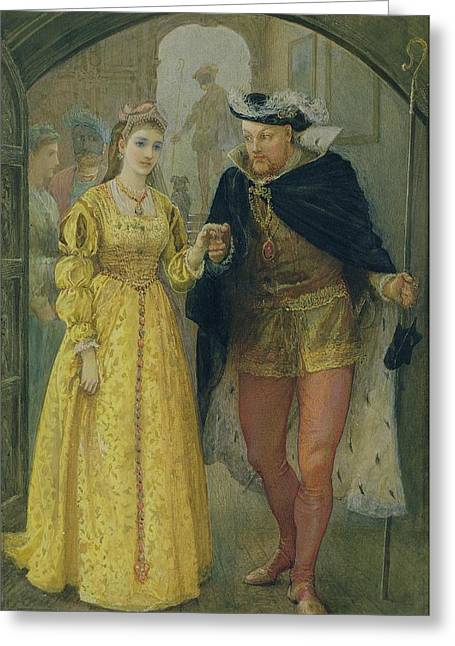 People. Talking Greeting Cards - Henry VIII and Anne Boleyn  Greeting Card by Arthur Hopkins