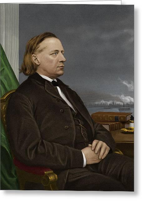 Reformer Greeting Cards - Henry Ward Beecher, Us Social Reformer Greeting Card by Maria Platt-evans