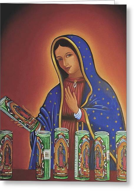 Virgin Of Guadalupe Art Greeting Cards - Her Candles Greeting Card by James Roderick