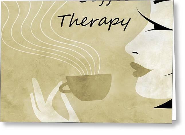 Brunette Mixed Media Greeting Cards - Her Coffee Therapy 1 Greeting Card by Angelina Vick