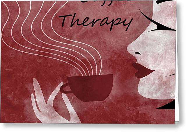 Brunette Mixed Media Greeting Cards - Her Coffee Therapy 2 Greeting Card by Angelina Vick