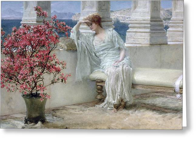 Pensive Greeting Cards - Her eyes are with her thoughts and they are far away Greeting Card by Sir Lawrence Alma-Tadema