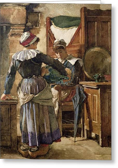 Caring Mother Greeting Cards - Her First Born Greeting Card by Walter Langley