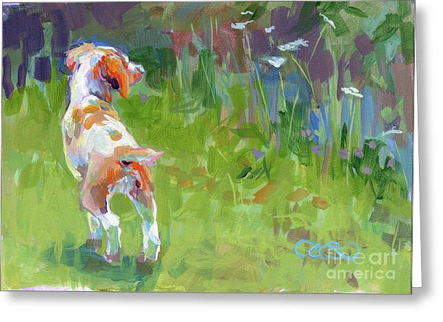 Puppies Paintings Greeting Cards - Her First Point Greeting Card by Kimberly Santini