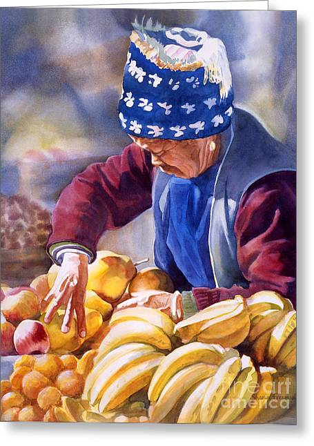 Chinese Market Greeting Cards - Her Fruitstand Greeting Card by Sharon Freeman