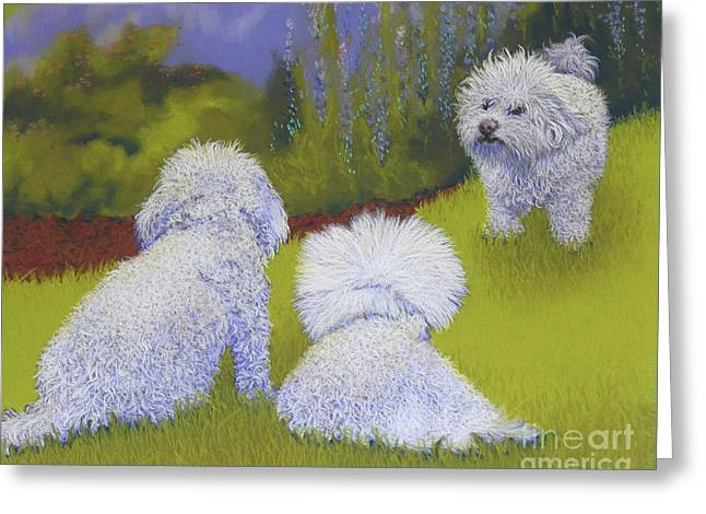 White Maltese Greeting Cards - Her Royal Court Greeting Card by Tracy L Teeter