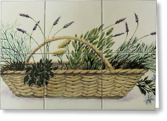 Ceramic Tile Mural Ceramics Greeting Cards - Herb Basket Greeting Card by Dy Witt