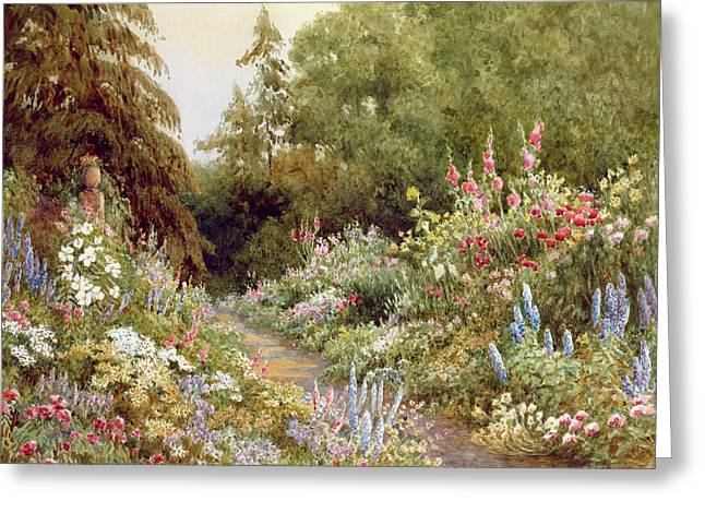 Border Greeting Cards - Herbaceous Border  Greeting Card by Evelyn L Engleheart