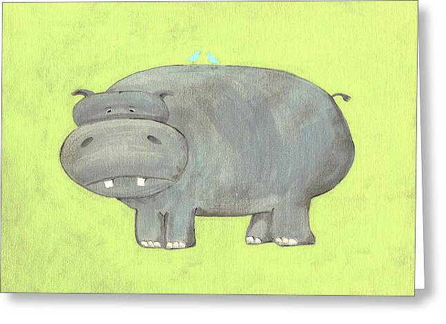 Jungle Animals Greeting Cards - Herbert Hippo Nursery Art Greeting Card by Katie Carlsruh