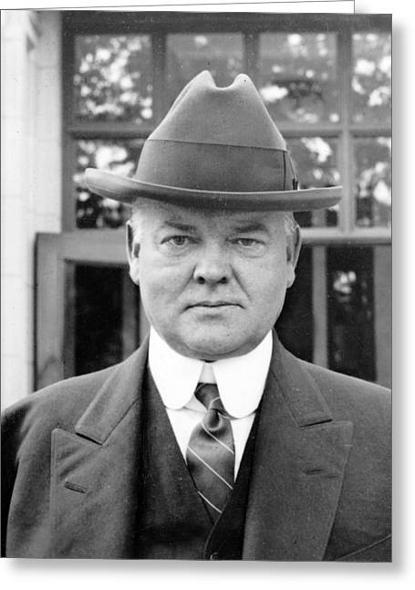 Herbert Hoover Greeting Cards - Herbert Hoover - President of the United States of America - c 1924 Greeting Card by International  Images