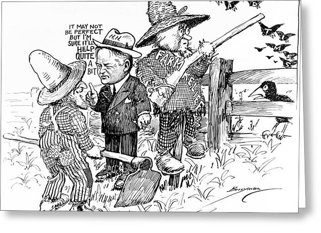 Herbert Hoover Greeting Cards - Herbert Hoover Political Cartoon Greeting Card by Photo Researchers