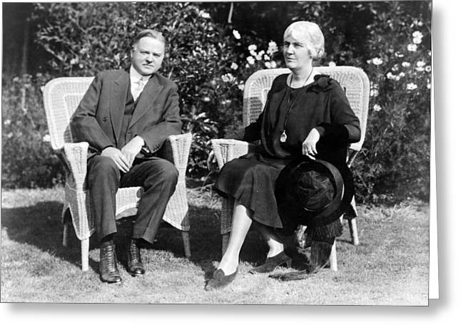 Herbert Hoover Seated With His Wife Greeting Card by International  Images