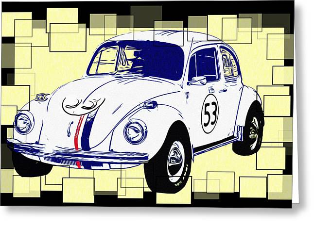 The Love Bug Greeting Cards - Herbie the Love Bug Greeting Card by Bill Cannon