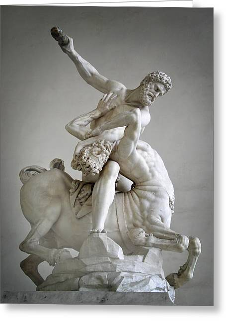 Historical Pictures Greeting Cards - Hercules and Centaur Sculpture Greeting Card by Artecco Fine Art Photography