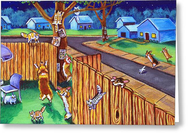 Puppies Paintings Greeting Cards - Herding Cats - Pembroke Welsh Corgi Greeting Card by Lyn Cook