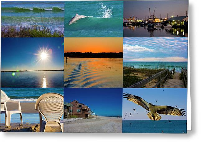 Topsail Island Greeting Cards - Here Greeting Card by Betsy A  Cutler